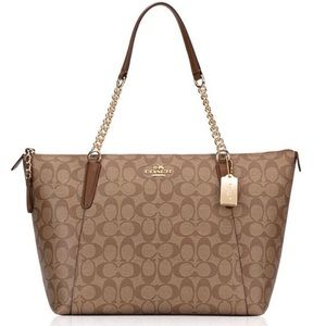 Coach Signature Ava Chain Tote in Khaki/Saddle